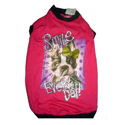 Kennel Smile Every Day Tshirt for Medium Dogs, pink, 22 inch
