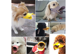 Dougez Silicone Anti Bite Duck Mouth Shape Muzzle for Toys to Medium Breed Dogs, xl, yellow