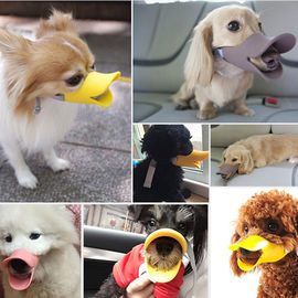 Dougez Silicone Anti Bite Duck Mouth Shape Muzzle for Toys to Medium Breed Dogs, large, yellow