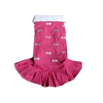 Zorba Designer Embroidery Frock for Toy Dogs and Big Cats, pink, 10 inch