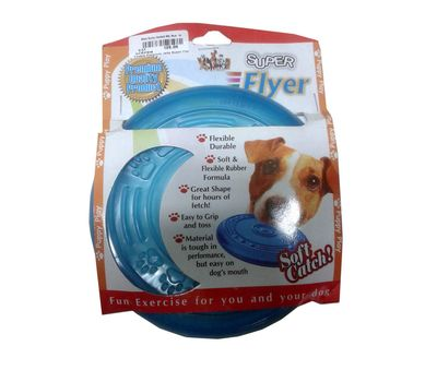 Super Flyer Flexible Puppy Dog Frisbee, blue, 9 inch