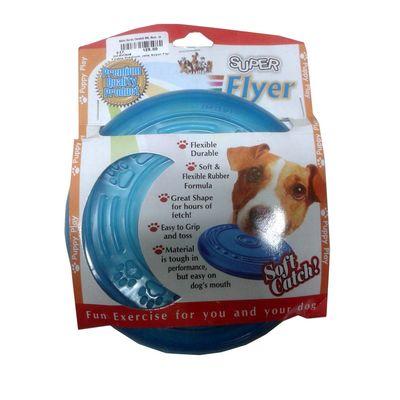 Super Flyer Flexible Puppy Dog Frisbee, blue, 6 inch