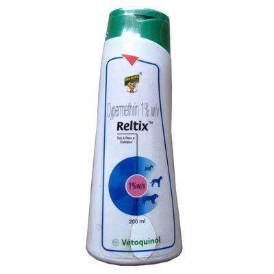 Vetoquinol Reltix Tick and Fleas Shampoo for Dogs, 200 ml