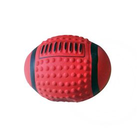 Eco Friendly Rugby Natural Vinyl Dog Pet Toy, 6 inch, red