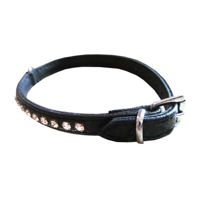 Zorba Designer Rhinestone Leather Collar for Cats and Puppy Toy Breed Dogs, 13 inch, black
