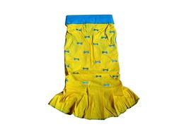 Zorba Designer Embroidery Frock for Small Breed Dogs, yellow, 18 inch