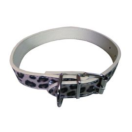 Canine Designer PU Soft Leather Textured Collar for Small Dogs, 0.75 inch, leopard