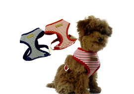 Puppy Love Striped Cotton Vest Harness for Small to Medium Breed Dogs, blue, extra large