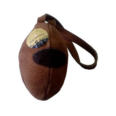 Zorba Leather Rugby Shape Play Toy for Dogs, light brown