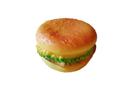 Burger Shaped Squeaky Dog Toy, small 4 inch