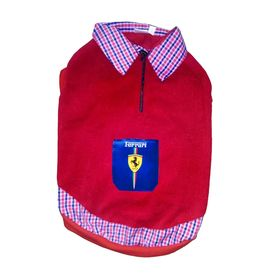 Rays Premium Double Fleece Warm Collar Tshirt for Small Dogs, red ferrari, 16 inch