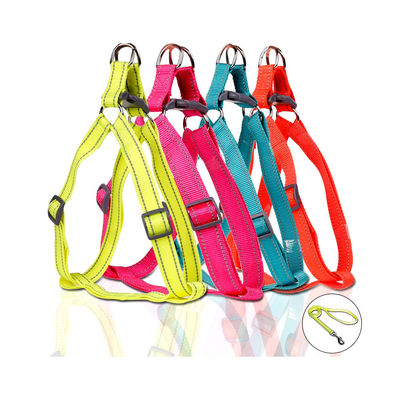 Puppy Love Neon Reflective Step-in Harness with Leash for Large Breed Dogs, neon pink , large