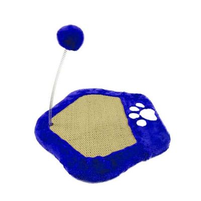 Canine Paw Shape Cat Scratch Board with String Plush Ball, blue
