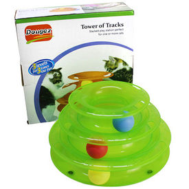 Dougez Tower of Tracks Cat Toy, green