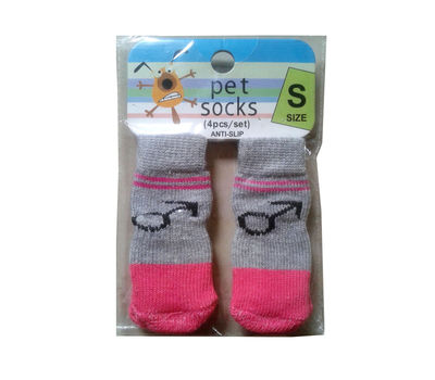 Bobo Anti Slip Socks for Toy to Small Breed Dogs, grey arrow, small