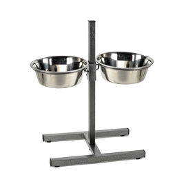 Canine Steel Bowl with Adjustable Metal Stand, medium bowl