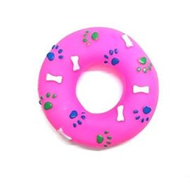 Canine Vinyl Plastic Donut Ring Squeaky Cat and Dog Toy, 5 inch, pink