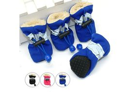 Pet Artist Reflective Waterproof Anti Skid Shoes for Toy Dogs and Cats, blue, large