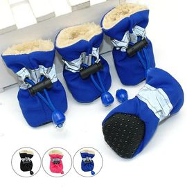 Pet Artist Reflective Waterproof Anti Skid Socks Shoes for Small Dogs and Cats, blue, large