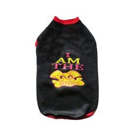 Rays Fleece Warm Rubber Print Tshirt for Medium Dogs, black, 20 inch