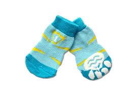 Puppy Love Multi Designs Anti Skid Socks for Small Breed Dogs, light blue flak, small