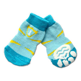 Puppy Love Multi Designs Anti Skid Socks for Small Breed Dogs, light blue flak, small