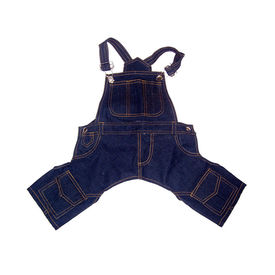 Zorba Designer Denim Dungarees for Toy Breed Dogs, 10 inch, blue