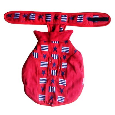 Rays Fleece Foam Warm Winter Coat for Small Dogs, red star blocks, 16 inch
