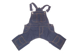 Zorba Designer Denim Dungarees for Small Breed Dogs, 20 inch, blue