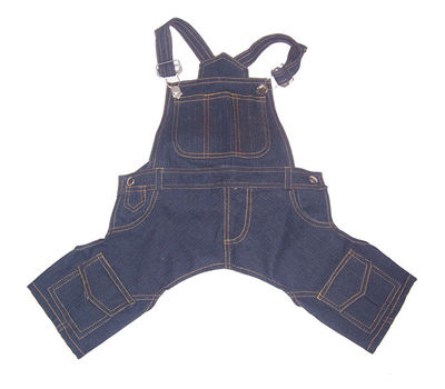 Zorba Designer Denim Dungarees for Small Breed Dogs, 18 inch, blue