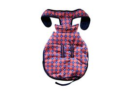 Rays Fleece Foam Warm Winter Coat for Small Dogs, 18 inch, orange tiles