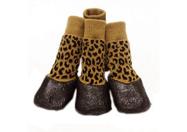 Puppy Love Anti-Slip Waterproof Sock Shoes for Small Breed Dogs, yellow cheetah, small