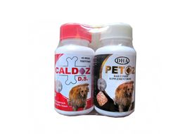 Caldoz D. S. and Petoz Mega TestiTab Dog Supplement, combo pack