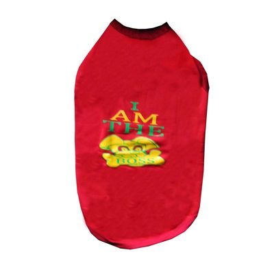 Rays Fleece Warm I am Boss Rubber Print Tshirt for Medium Dogs, 24 inch, red