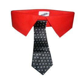 Zorba Designer Fancy Collar with Tie for Dogs, medium, red