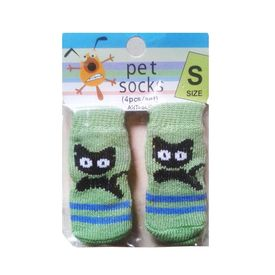 Bobo Anti Slip Socks for Toy to Small Breed Dogs, green cat, small