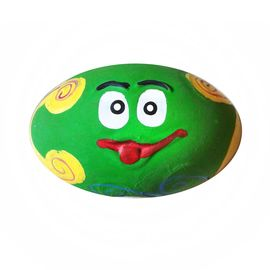 Eco Friendly Cartoon Oval Shaped Natural Vinyl Dog Pet Toy, 6 inch, green