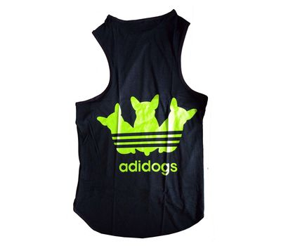 Canes Venatici Sporty Sando Sleeveless Tshirt for Dogs, 16 inch, black adidog