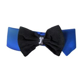 Zorba Designer Fancy Collar with Bow for Dogs, small, blue
