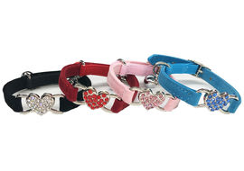 Puppy Love Heart Studded Crystal Rhinestone Velvet Collars for Cats, red