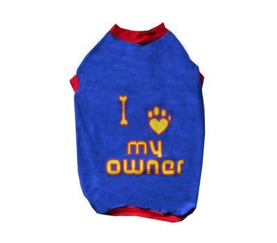 Rays Fleece Warm Love Owner Rubber Print Tshirt for Medium Dogs, 24 inch, blue