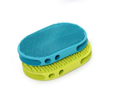 Canine Thick Rubber Massaging and Cleaning Pet Brush, blue