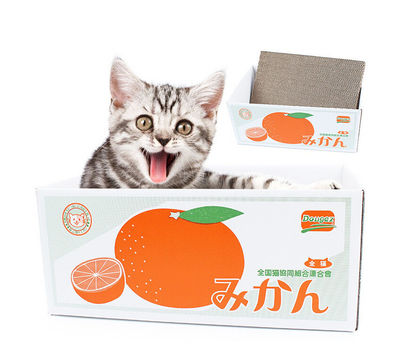 Dougez Interactive Corrugated Scratch Cardboard Box Cat Toy, orange, 37 x 25 cms