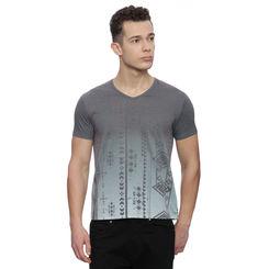 Emden Dark Grey Printed Regular Fit T Shirt, l,  dark grey