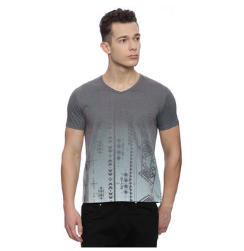 Emden Dark Grey Printed Regular Fit T Shirt, l,  dark grey