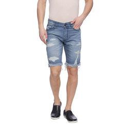 Earl Light Blue Washed Slim Fit Shorts, 32,  light blue