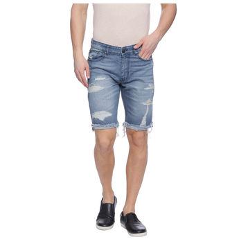 Earl Light Blue Washed Slim Fit Shorts, 36,  light blue