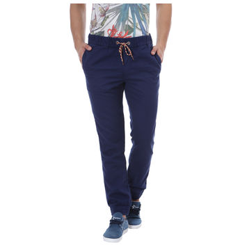 Breakbounce Mbeya Slim Fit Solid Woven Joggers,  navy, 32