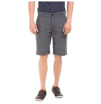 TEES Navy Slim Fit Printed Shorts,  navy, 34