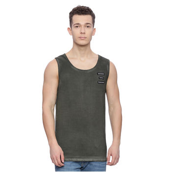Romer Ivy Green Solid Slim Fit Vest, m,  ivy green